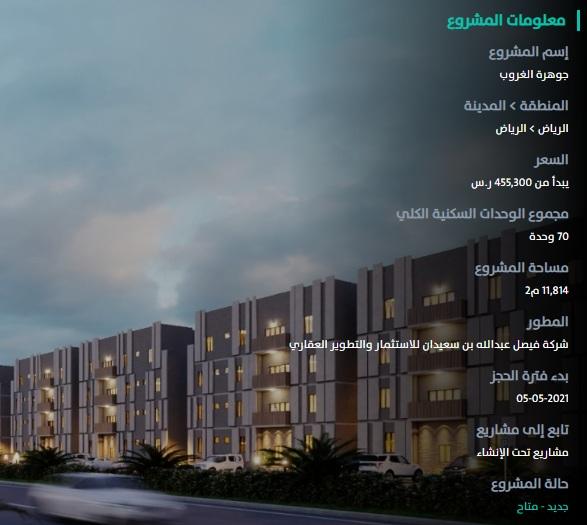 مشروع جوهرة الغروب المشاريع السكنية